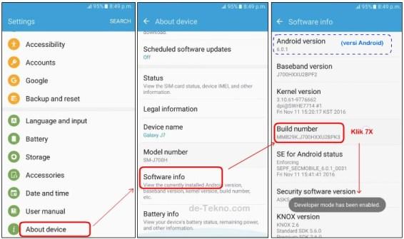 Mengaktifkan Developer options Samsung seri J