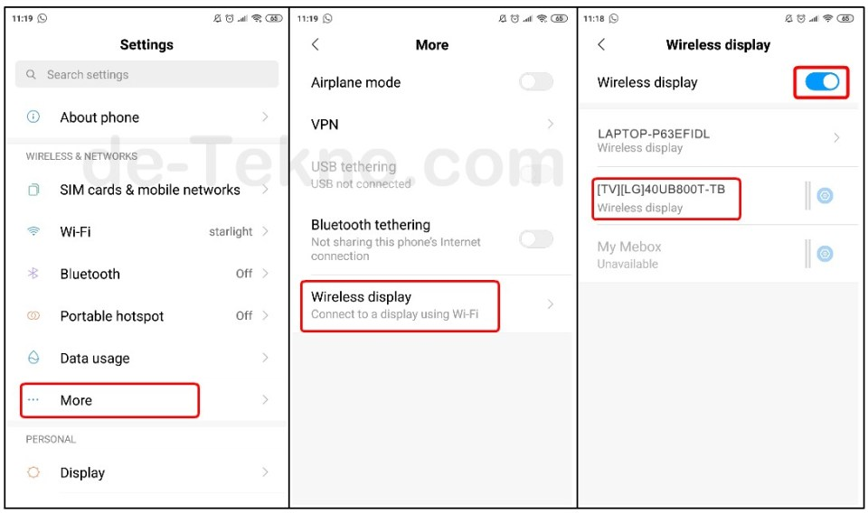 Settings Mirror Xiaomi ke Smart TV