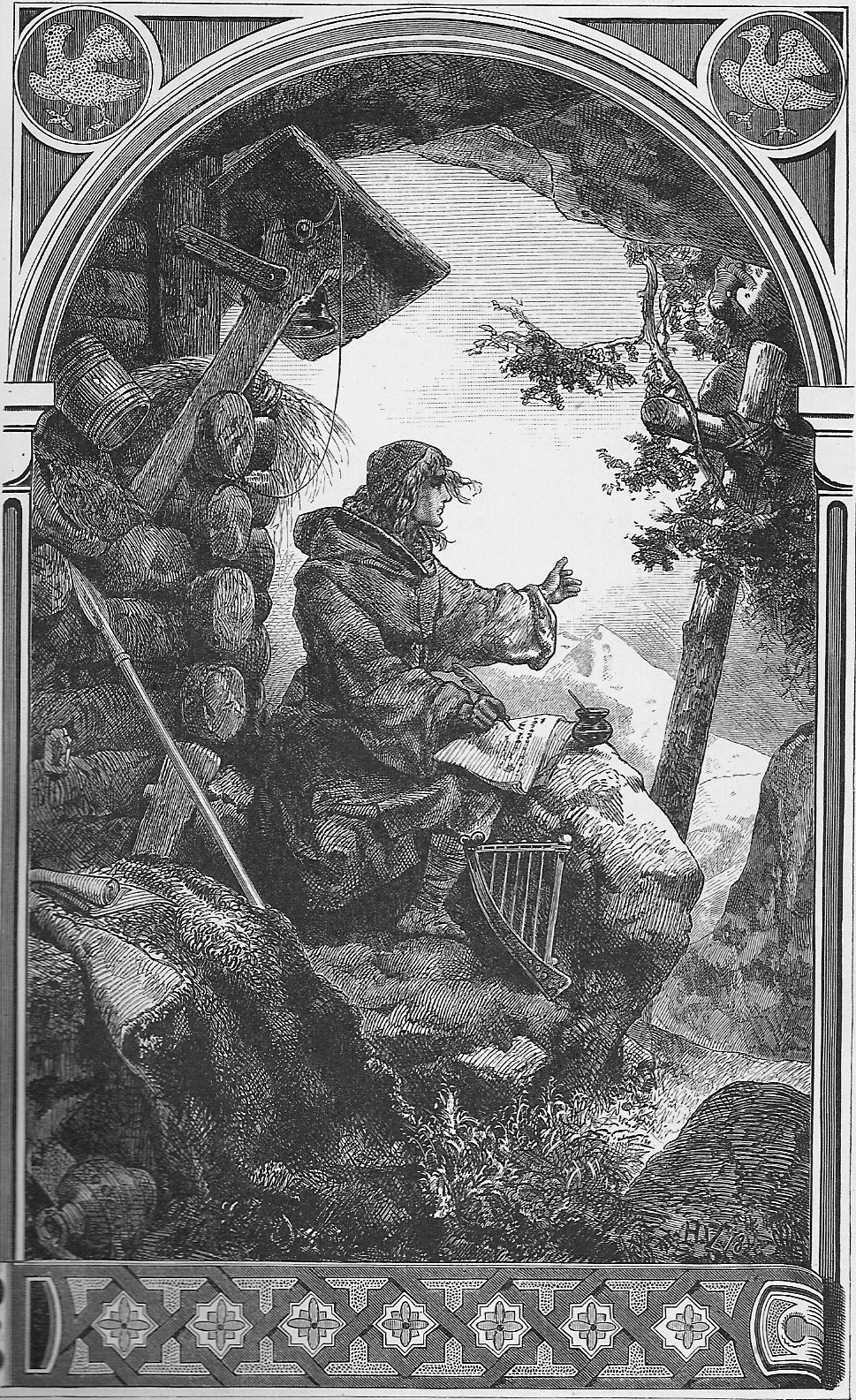 Romantic depiction of Ekkehard of St Gall, supposed by some to be the author of the Waltharius, writing it