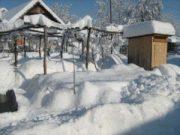 Wintereindrücke Permakultur Garten im Schnee, Huegelbeete mit Schnee