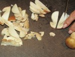 Steinpilze in Scheiben schneiden fuer gemahlene Steinpilze