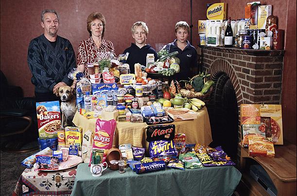Marea Britanie. Familia Bainton, din Cllingbourne Ducis. Cheltuieli saptamanale pentru mancare - 155.54 British Pounds sau $253.15