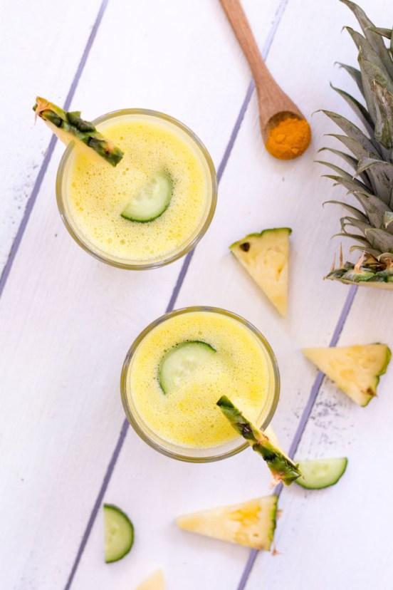 Ananas-Kurkuma-Smoothie - rein pflanzlich, vegetarisch, ohne raffinierten Zucker, vegan - de.heavenlynnhealthy.com