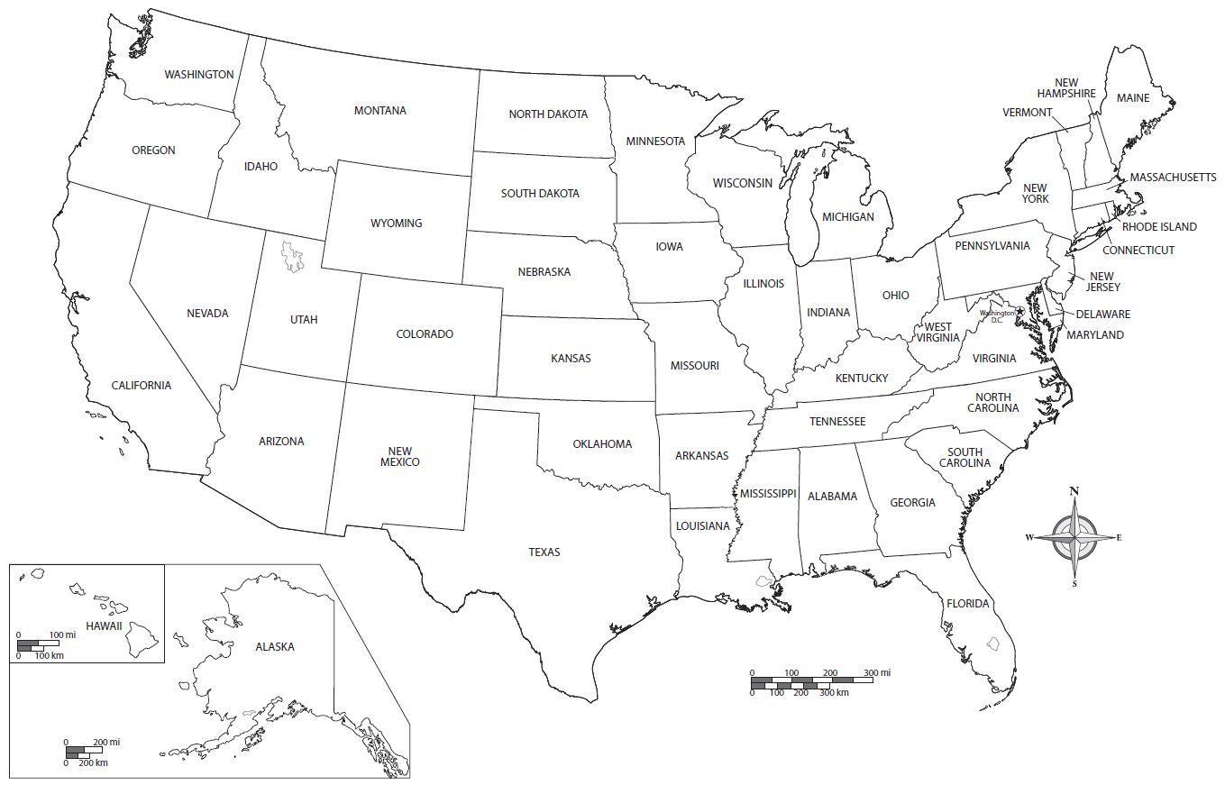Vereinigte Staaten Map Arbeitsblatt