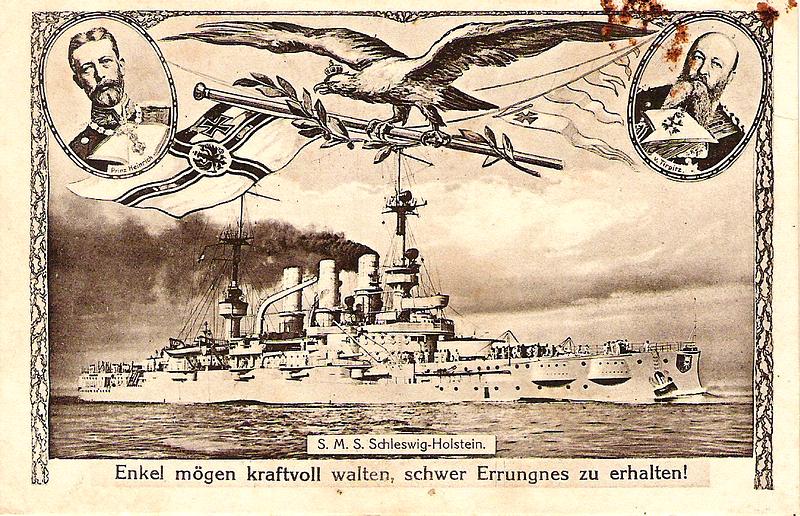 Datei:Enkel mögen kraftvoll walten schwer Errungnes zu erhalten - .S.M.S.SchleswigHolstein.jpg