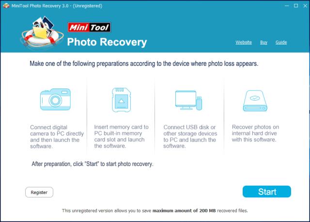 Startseite von MiniTool Photo Recovery