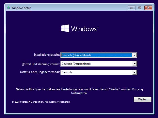 Startseite für Windows-Installation