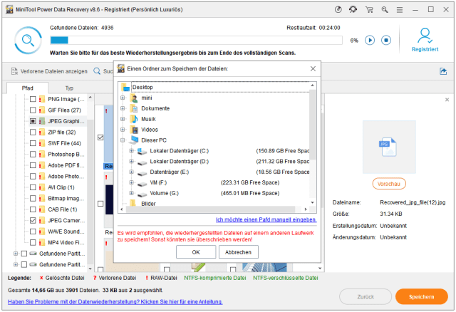 Die Dateien aus piepsender/klickender Festplatte an einen sicheren Ort wiederherstellen
