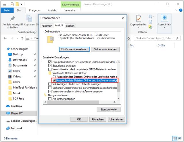 Ausgeblendete Dateien, Ordner und Laufwerks anzeigen