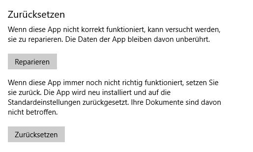 Windows Fotos-App zurücksetzen oder reparieren