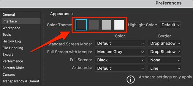 """Wählen Sie a """"Farbthema"""" in Photoshop """"Einstellungen"""" Fenster."""