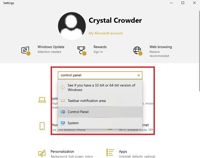 Möglichkeiten zum Öffnen der Systemsteuerung in den Windows 10-Einstellungen