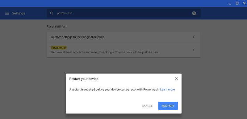 Powerwash Chromebook Bestätigen Sie Powerwash