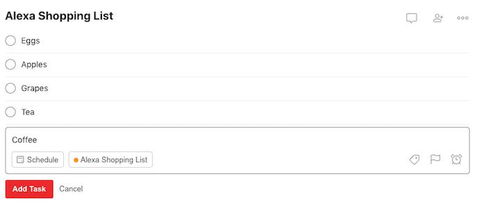 Todoist Amazon Alexa Aufgabe hinzufügen