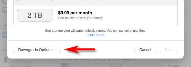 """Klicken Sie auf """"Downgrade-Optionen""""."""