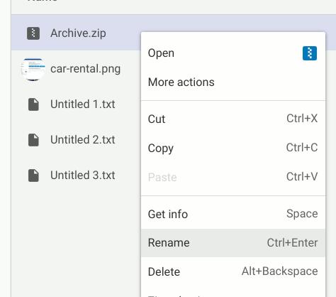 Chromeos Zip-Dateien umbenennen
