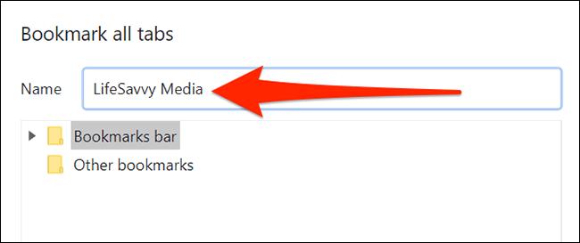Fenster zum Speichern von Lesezeichen in Chrome