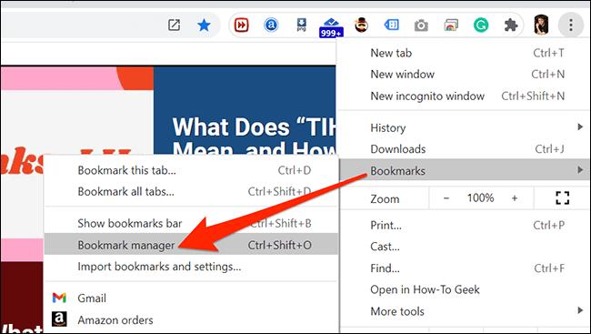 Lesezeichen-Menü von Chrome