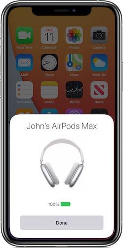 Überprüfen Sie die Batterielebensdauer der Airpods max