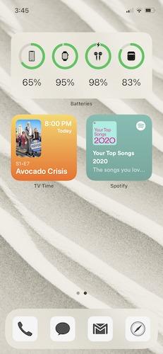 Überprüfen Sie das Homescreen-Widget für die Akkulaufzeit von Airpods