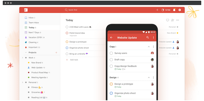 Die Todoist-Produktivitäts-App.