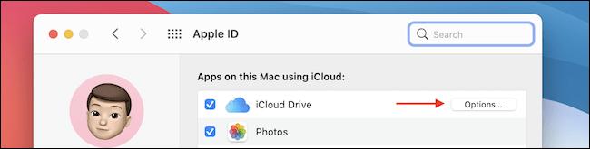 Klicken Sie auf Optionen von iCloud Drive