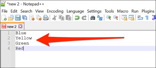 Eine weitere durch Zeilenumbrüche getrennte Elementliste in Notepad ++.