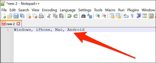 Ein Notepad ++ - Fenster mit einer durch Kommas getrennten Liste.