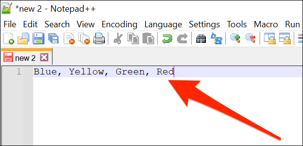Eine durch Kommas getrennte Elementliste in Notepad ++.