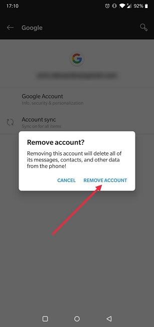 So wechseln Sie die Android-Einstellungen des Google-Kontos Bestätigen Sie das Entfernen