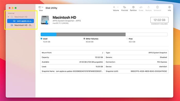 Festplattenberechtigungen Macos wählt Festplatte aus