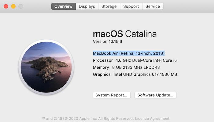 """Detaillierte Informationen zu Marke und Modell Ihres Mac finden Sie in der """"Über diesen Mac"""" Fenster."""