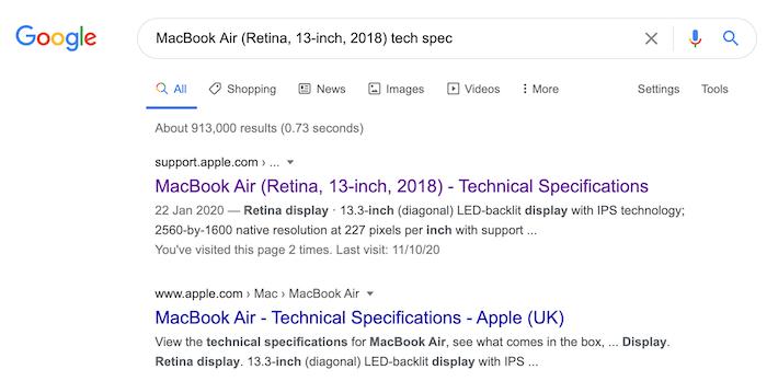 Sie können die technischen Spezifikationen Ihres Mac finden, indem Sie das Modell in eine Suchmaschine wie Google eingeben.