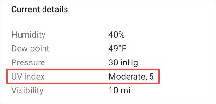 UV-Index der Google-App.