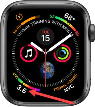 Infografik-Zifferblatt auf der Apple Watch.