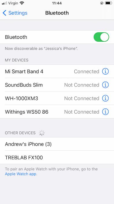 Verbinden mit dem Treblab Bluetooth-Lautsprecher.