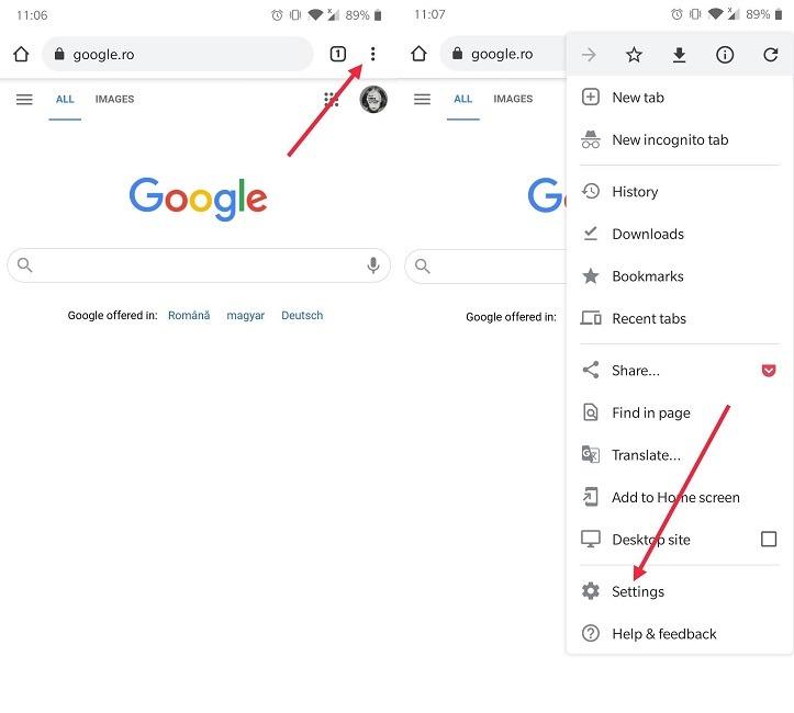 So stoppen Sie Chrome Notifications Mobile Gehen Sie zu den Einstellungen