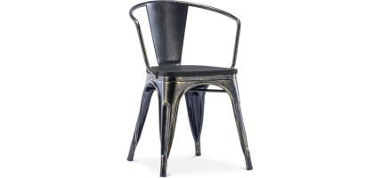 Style Tolix Stuhl mit Armlehne   Metall und dunkles Holz
