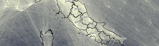 Mappa della collaborazione scientifica fra ricercatori - zoom sull'Italia