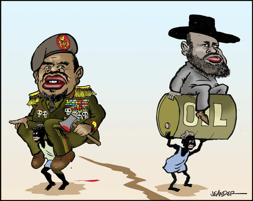 Cartoon: South Sudan. A new nation (medium) by jeander tagged al,bashir,sudan,south,salva,kiir,nation,conflict,al bashir,sudan,öl,al,bashir