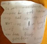 Jarig. Brief van kleinkind.