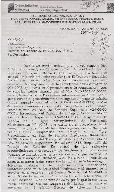 MILITAREK insolvente ante Ministerio del Poder Popular para el Trabajo y la Seguridad Social.