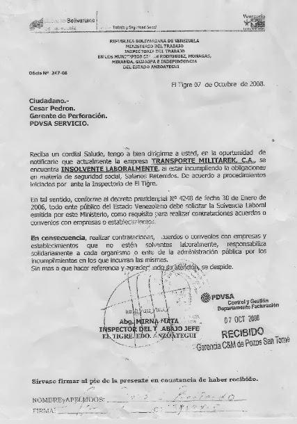 Pronunciamiento de Ministerio de Trabajo a PDVSA, quien no hizo nada pues encubre a MILITAREK.
