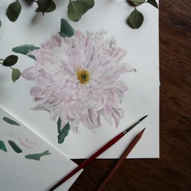 Watercolour Pastel Chrysanthemum