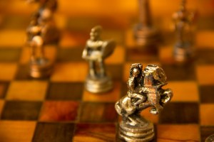 Book Club image placement, A Golden knight positioned on a chess board
