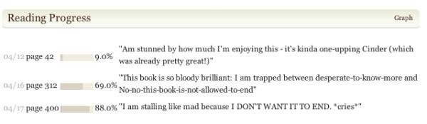 My Goodreads Progress for Scarlet by Marissa Meyer