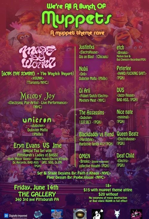 muppet rave flyer - Back