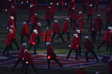 weeknd halftime on field super bowl LV AP