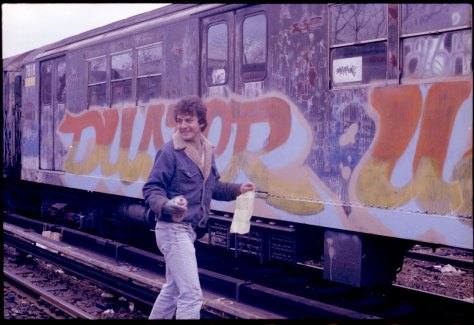 Duster, painting a train during the filming of Style Wars.