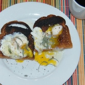 burned eggs and toast
